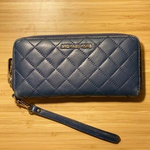 blue quilted michael kors wallet